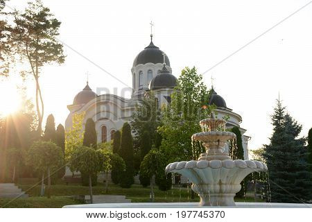 Monastery in Moldova. Orthodox Church at sunset