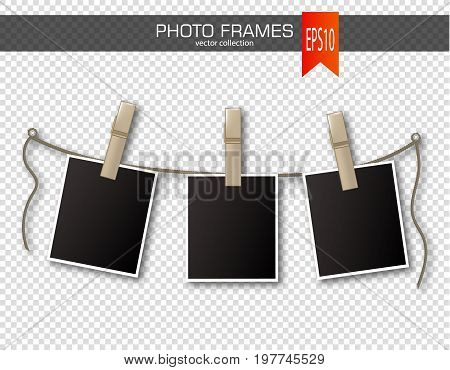 Set of photo frames with clothespin on a transparent background. Vector illustration