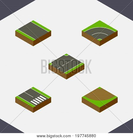 Isometric Road Set Of Without Strip, Bitumen, Turn And Other Vector Objects