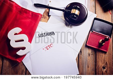 Red Veto Stamp On Law Act And Polish Flag