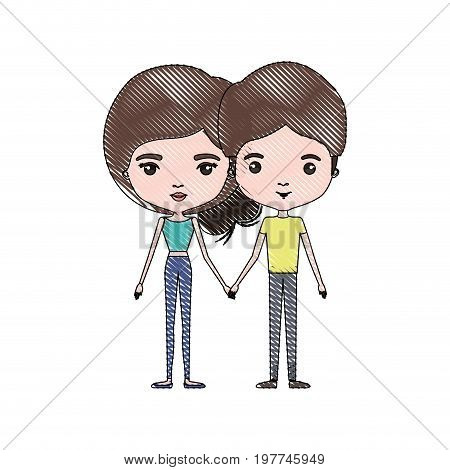 crayon colored silhouette of slim couple standing caricature and both with brown hair and pants and her with collected hair vector illustration