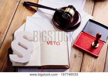 Red Veto Stamp In Notepad