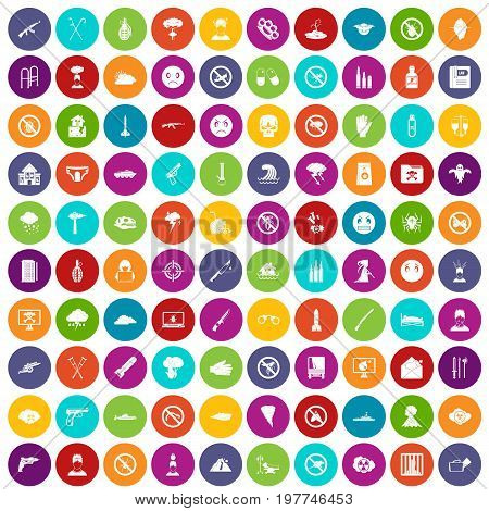 100 tension icons set in different colors circle isolated vector illustration