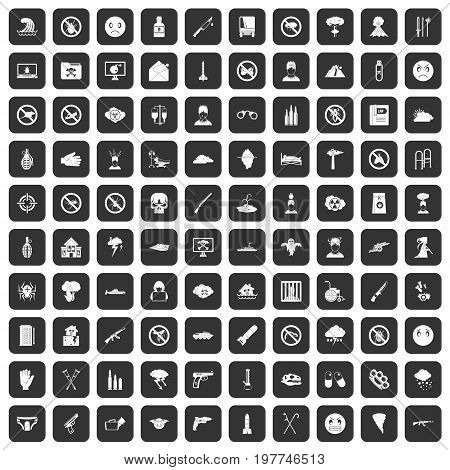 100 tension icons set in black color isolated vector illustration
