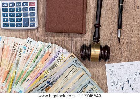 Gavel, Dollar, Euro, Notebook, Pen On Desk