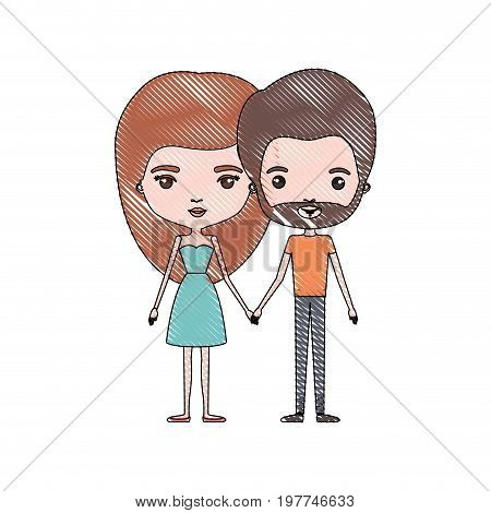 crayon colored silhouette of slim couple standing caricature and her with dress and long red hair and him with brown hair and beard vector illustration