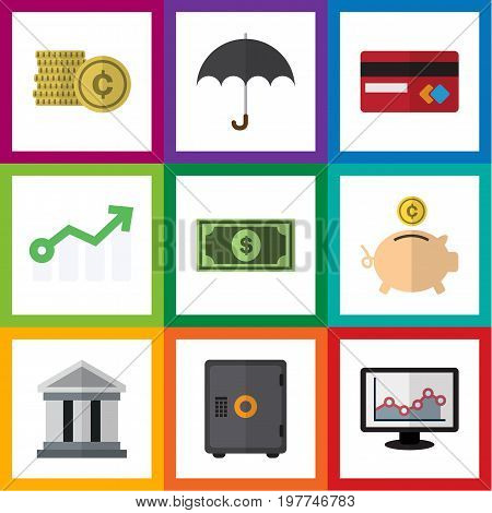 Flat Icon Gain Set Of Payment, Growth, Parasol And Other Vector Objects