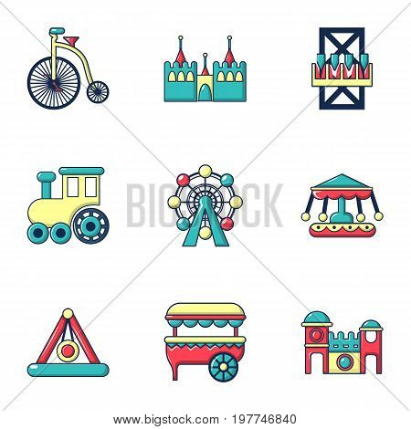 Entertainment park icons set. Flat set of 9 entertainment park vector icons for web isolated on white background