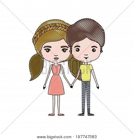 crayon colored silhouette of slim couple standing caricature and her with dress and blond pigtails hair and him with brown hair vector illustration