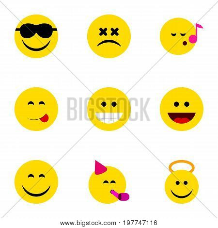 Flat Icon Expression Set Of Angel, Grin, Happy And Other Vector Objects
