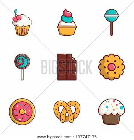 Tasty food icons set. Flat set of 9 tasty food vector icons for web isolated on white background