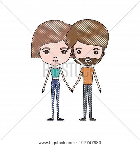 crayon colored silhouette of slim couple standing caricature and both with light brown hair and pants and her with short hair and him with beard vector illustration