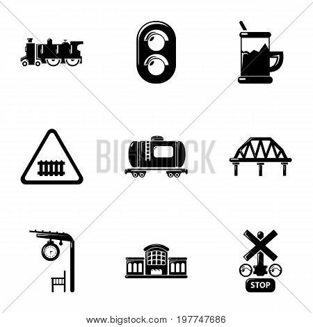 Railroad icons set. Simple set of 9 railroad vector icons for web isolated on white background