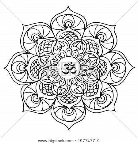 ndian mandala is a beautiful idea for a tattoo. Black line floral Indian mandala, hand drawn  illustration