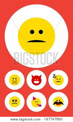 Flat Icon Gesture Set Of Pouting, Party Time Emoticon, Asleep And Other Vector Objects