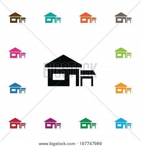 Farmhouse Vector Element Can Be Used For Farmhouse, Ranch, House Design Concept.  Isolated Ranch Icon.