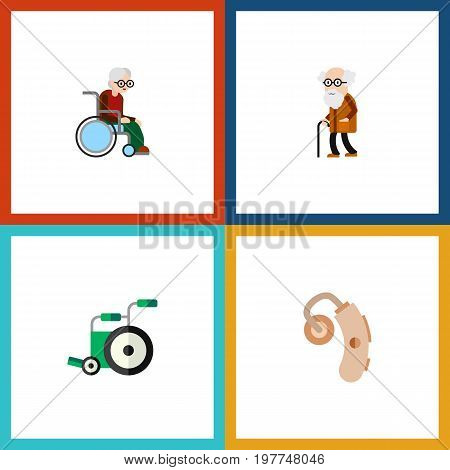 Flat Icon Disabled Set Of Audiology, Wheelchair, Ancestor And Other Vector Objects