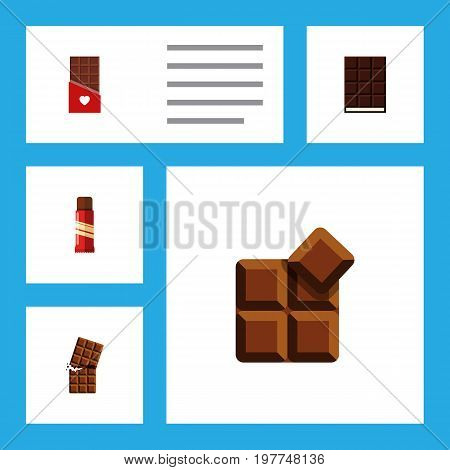 Flat Icon Sweet Set Of Chocolate, Cocoa, Dessert And Other Vector Objects