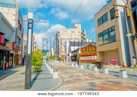 Nara, Japan - July 26, 2017: Beautiful view at sunny day at shopping area in Nara, Japan. Nara is a former capital city of Japan. Nowadays it's a big city inhabited by 368, 636 people.
