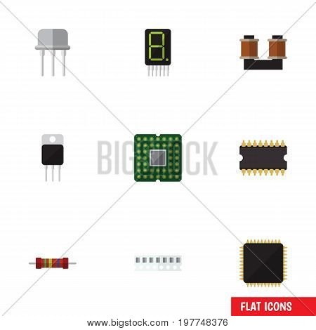 Flat Icon Electronics Set Of Receiver, Memory, Resistance And Other Vector Objects