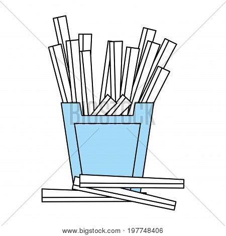 Flat line monocromatic french fries over white background vector illustration