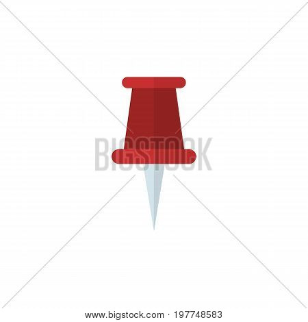 Pushpin Vector Element Can Be Used For Pointer, Pin, Paper Design Concept.  Isolated Pin Flat Icon.