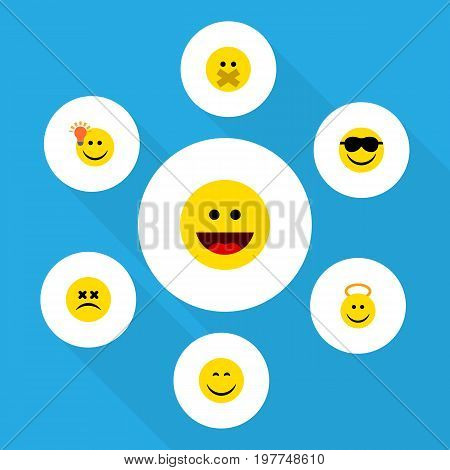 Flat Icon Emoji Set Of Happy, Cross-Eyed Face, Angel And Other Vector Objects