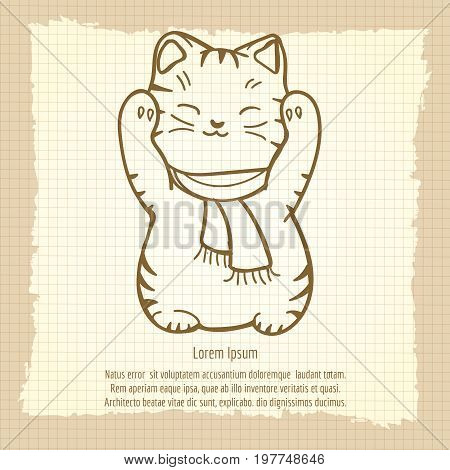 Chinese or japanese lucky cat vintage pattern, vector illustration