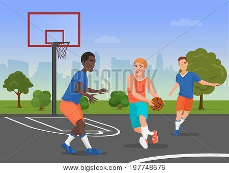 Vector illustration of black and white people playing streetball on the playground