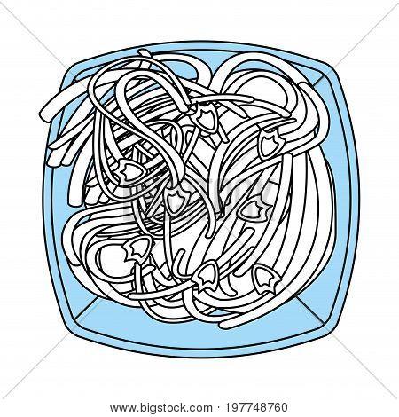 Flat line monocromatic spaghetti over white background vector illustration