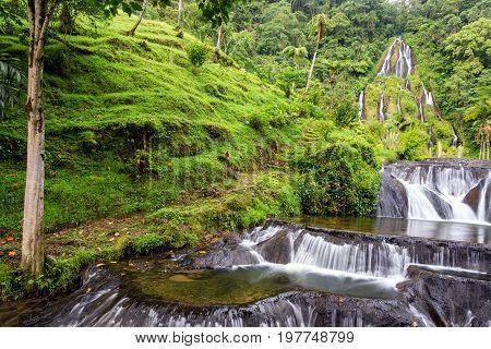 Famous waterfall at the thermal hot springs at Santa Rosa de Cabal Colombia