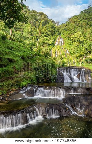 Vertical view of the waterfall at the thermal hot stprings in Santa Rosa de Cabal Colombia
