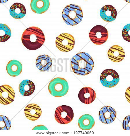 Vector funny seamless pattern with chocolate donuts, sprinkles donuts and colorful glaze donuts