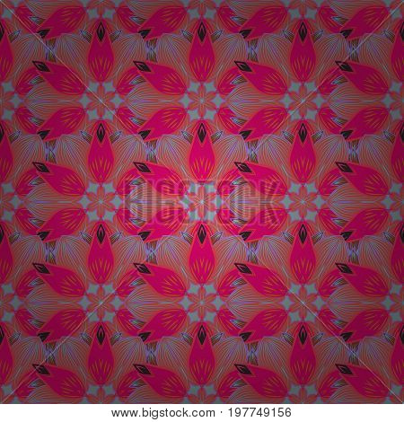 Orient symmetry lace meditation symbol. Arabic Vintage decorative ornament. Tribal ethnic texture. East Islam Indian ottoman motifs. Vector Mandala colored on pink background. Mandala pattern.
