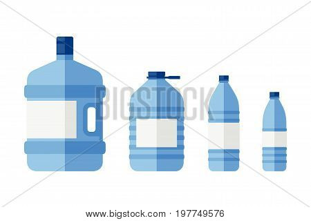 Bottles for water of different sizes. Flat icons of plastic transparent bottles.
