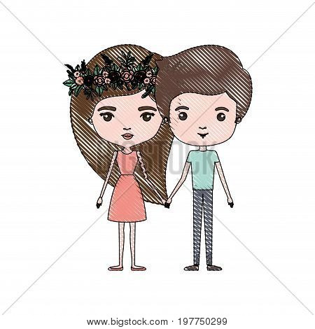 crayon colored silhouette of slim couple standing caricature and both with brown hair and her in dress with long straight hair with floral crown and him in casual clothes vector illustration