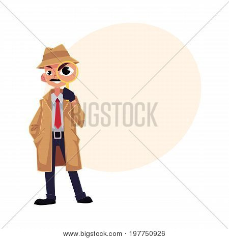 Comic style detective character looking through magnifying glass, cartoon vector illustration with space for text. Full length portrait of funny detective character looking through magnifier