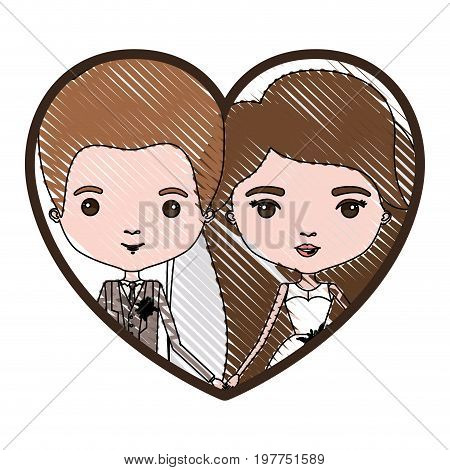 heart shape portrait with color crayon silhouette caricature newly married couple groom with formal wear and bride with long hairstyle vector illustration