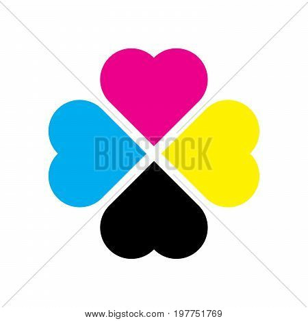 Four leaf clover in CMYK colors. Printer theme. Vector illustration.