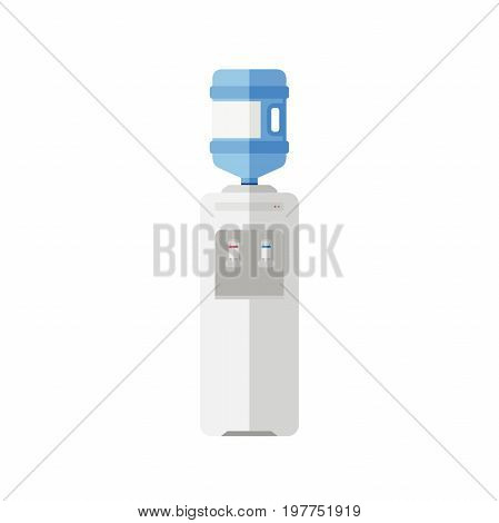 Water cooler flat icon. Vector simple illustration with white plastic cooler for water and large bottle.