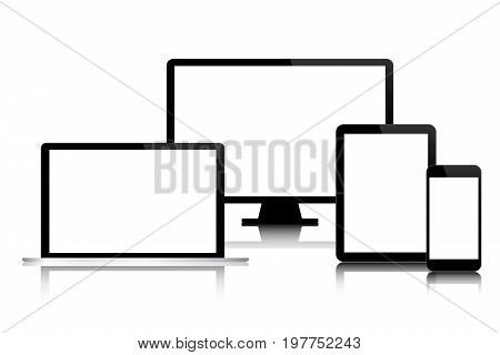 Set of modern digital tech devices with blank screen isolated on white background business concept for your infographic computer smartphone tablet laptop