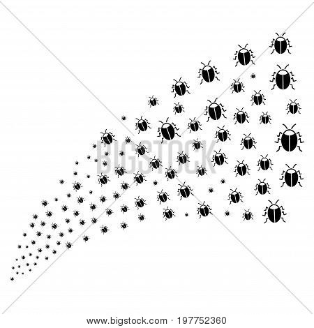 Source stream of bug icons. Vector illustration style is flat black iconic bug symbols on a white background. Object fountain constructed from design elements.