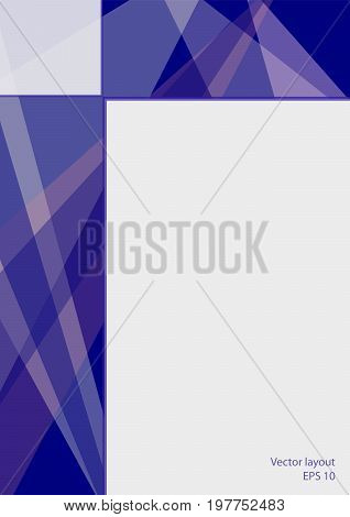 Cover layout technology design. Abstract geometric dark blue background with text place. Modern template for books, brochures, leaflets, booklets, portfolio, annual reports, posters, flyers. EPS10 vector illustration, size A4