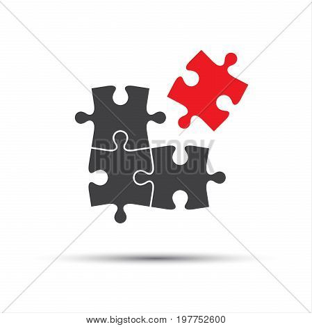 Four puzzle pieces one red and three gray abstract symbol icon isolated on a white background flat design style