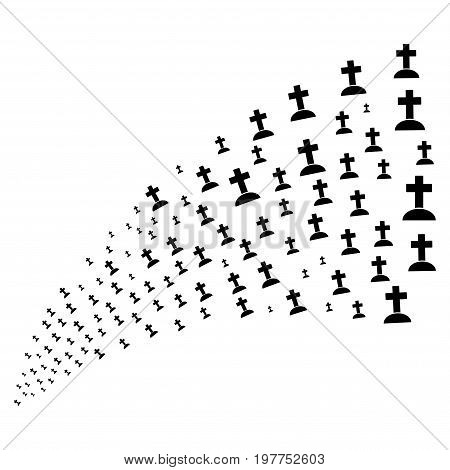 Stream of cemetery symbols. Vector illustration style is flat black iconic cemetery symbols on a white background. Object fountain done from icons.