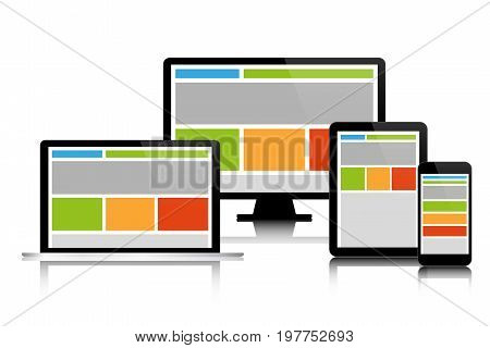 Fully responsive web design in modern electronic devices set of modern digital tech devices isolated on white background business concept for your infographic computer smartphone tablet laptop