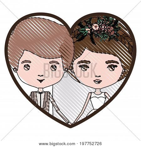 heart shape portrait with color crayon silhouette caricature newly married couple groom with formal wear and bride with collected hairstyle vector illustration