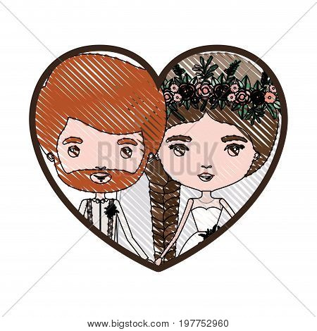 heart shape portrait with color crayon silhouette caricature newly married couple groom with formal wear and bride with braids hairstyle vector illustration