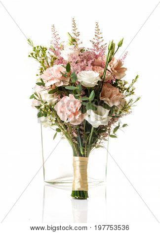 Bouquet With Pink Carnation And Whte Roses