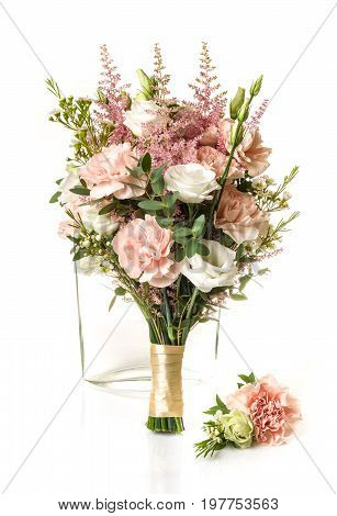 Bridal Bouquet With Pink Carnation And Whte Roses